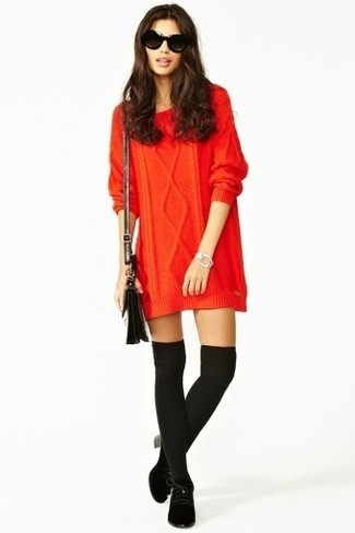 Nail glam in a red knit sweater dress. Finish off your look with black suede lace-up ankle boots.
