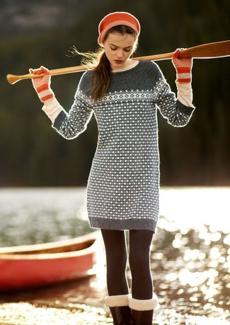 A grey fair isle sweater dress and a beige long sleeve t-shirt will give off this very sexy and chic vibe.