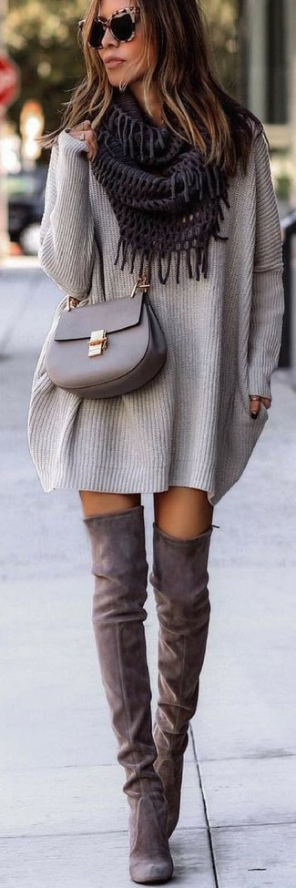 How to wear: grey knit sweater dress, grey suede over the knee boots, grey leather crossbody bag, violet scarf