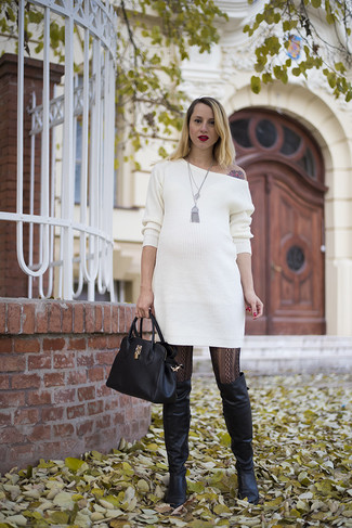 White Sweater Dress with Brown Boots
