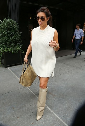 How to wear: white sweater dress, beige leather over the knee boots, tan suede tote bag, dark brown sunglasses