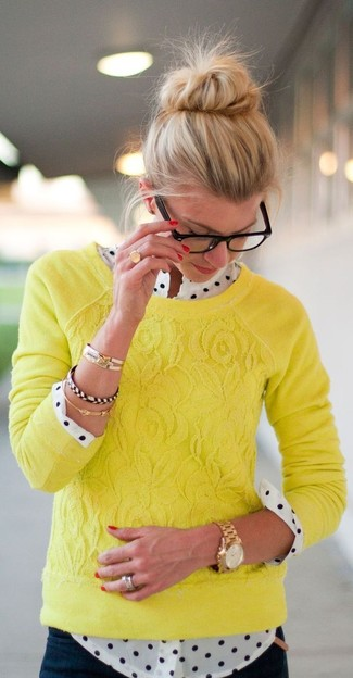 Pair a yellow lace sweater with navy jeans for a lazy Sunday brunch. You can bet this outfit will be your favorite thing come chillier weather.