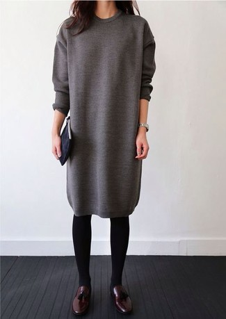 Opt for a grey sweater dress for a Sunday lunch with friends. A pair of oxblood leather tassel loafers will seamlessly integrate within a variety of outfits.