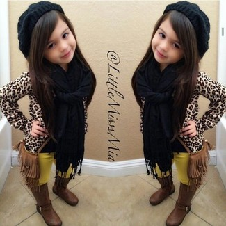 How to wear: tan leopard sweater, yellow leggings, brown boots, black beanie