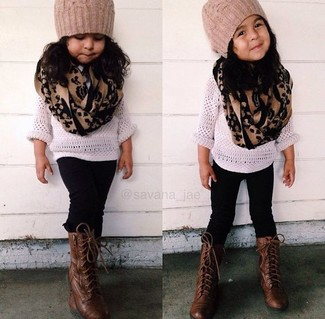 How to wear: white sweater, black leggings, dark brown boots, tan beanie
