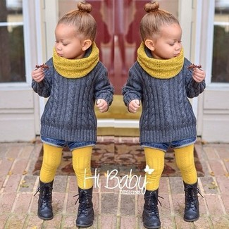 How to wear: grey sweater, blue denim shorts, black boots, yellow scarf