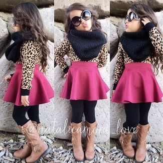How to wear: tan sweater, hot pink skirt, tan boots, black scarf