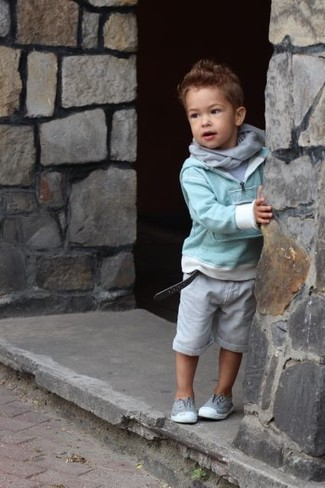 How to Wear a Grey Scarf For Boys: Choose a mint sweater and a grey scarf for your little man for a laid-back yet fashion-forward outfit. This outfit is complemented really well with grey sneakers.