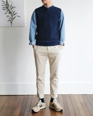 How to Wear a Shirt For Men: This combo of a shirt and beige chinos will be a true manifestation of your skills in men's fashion even on off-duty days. Serve a little mix-and-match magic by finishing off with a pair of tan low top sneakers.