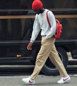 Men's Grey Sweatshirt, Khaki Chinos, White and Red Leather Low Top Sneakers, Red Leather Backpack
