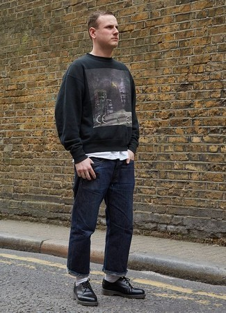 How to Wear a Black Print Sweatshirt For Men: Consider teaming a black print sweatshirt with navy jeans for a laid-back kind of sophistication. Complete your getup with black leather derby shoes for an extra touch of style.