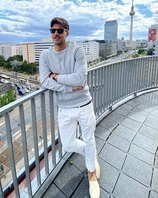 Black Suede Belt Outfits For Men: This pairing of a grey sweatshirt and a black suede belt is proof that a simple casual outfit can still be really interesting. Finishing off with a pair of beige canvas espadrilles is a surefire way to introduce some extra definition to this ensemble.