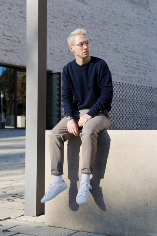 How to Wear White Socks For Men: Parade your expertise in men's fashion by combining a navy sweatshirt and white socks for a contemporary getup. Introduce a pair of white low top sneakers to the mix to take things up a notch.