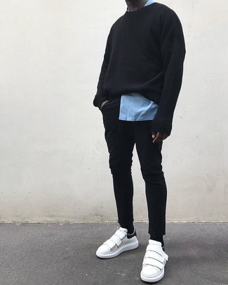 If you don't like getting too predictable with your looks, consider teaming a light blue long sleeve shirt with black skinny jeans. Finish off with white leather low top sneakers and off you go looking awesome. With rising temperatures comes spring and the need for a fresh outfit just like this one.