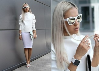 How to wear: white sweatshirt, white pencil skirt, white leather flat sandals, silver leather clutch