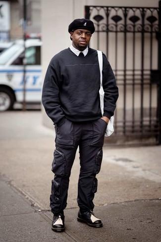Black Twill Distressed Trousers