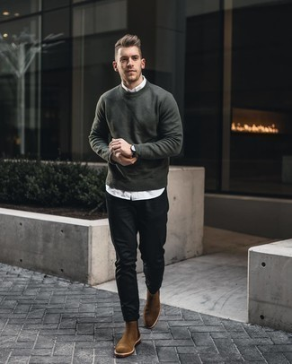 Dark Green Sweater with White Shirt Outfits For Men: Fashionable and practical, this laid-back combination of a dark green sweater and a white shirt will provide you with variety. Feeling experimental today? Break up your outfit by wearing brown suede chelsea boots.