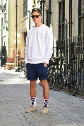 Navy Shorts with Suede Dress Shoes Smart Casual Summer Outfits For Men: Want to inject your closet with some fashion-forward cool? Wear a white sweatshirt and navy shorts. Complete this look with suede dress shoes to mix things up. Entirely appropriate for hot weather, you can wear this outfit throughout the summer.