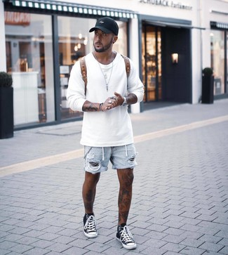 How to Wear Light Blue Ripped Denim Shorts For Men: Showcase your expertise in men's fashion by marrying a white sweatshirt and light blue ripped denim shorts for a street style getup. Add black and white high top sneakers to the mix and you're all set looking boss.