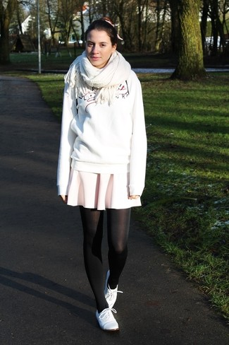 How to wear: white print sweatshirt, pink skater skirt, white leather oxford shoes, white scarf