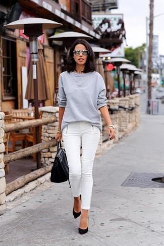 Women's Grey Sweatshirt, White Skinny Jeans, Black Suede Pumps ...