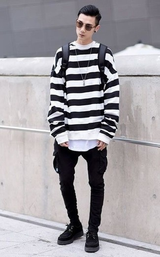 How to Wear Black Socks In Your Teens For Men: This pairing of a white and black sweatshirt and black socks is hard proof that a pared down casual outfit doesn't have to be boring. Black chunky suede derby shoes add a sophisticated aesthetic to the look.