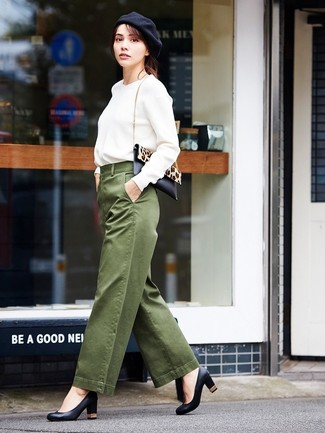How to wear: white sweatshirt, olive wide leg pants, black leather pumps, black and tan leopard calf hair crossbody bag