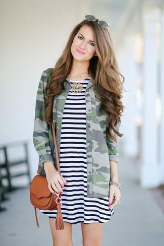 Women's Black and White Horizontal Striped Swing Dress, Green Camouflage Denim Shirt, Tobacco Leather Crossbody Bag, Grey Sunglasses