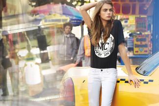 T shirt a col rond imprime noir jean skinny blanc large 1139