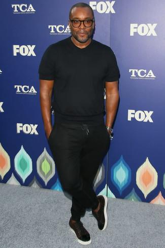 T shirt a col rond noir pantalon de jogging noir baskets basses en cuir bordeaux large 21959