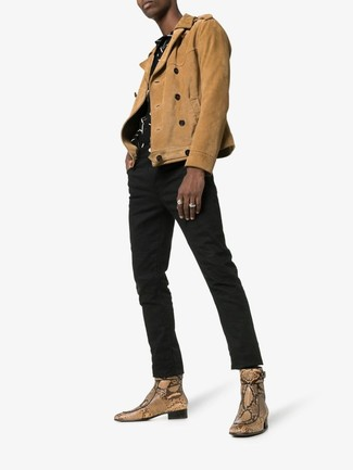 Beige Snake Leather Chelsea Boots Outfits For Men: For something more on the off-duty side, opt for this combination of a tan suede biker jacket and black jeans. Introduce a pair of beige snake leather chelsea boots to the mix to completely spice up the outfit.