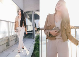 How to wear: tan blazer, beige jumpsuit, black leather heeled sandals, gold clutch