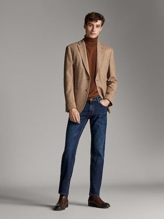 How to Wear Dark Brown Leather Chelsea Boots For Men: This combo of a tan wool blazer and navy jeans looks awesome, but it's extremely easy to replicate. Feel uninspired with this ensemble? Invite a pair of dark brown leather chelsea boots to switch things up.