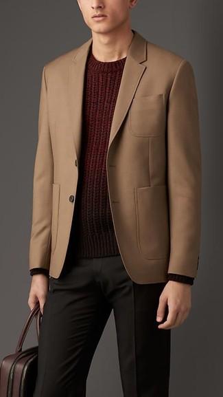 Cotton Gabardine Two Button Jacket Tan