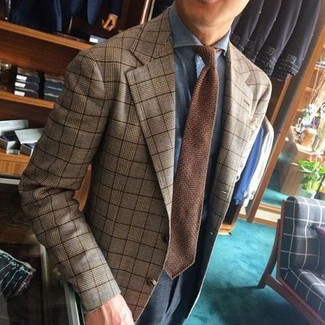 How to wear: tan plaid blazer, light blue dress shirt, charcoal dress pants, brown knit tie