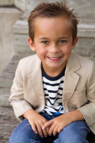 Boys' Tan Blazer, Navy Horizontal Striped Sweater, Blue Jeans