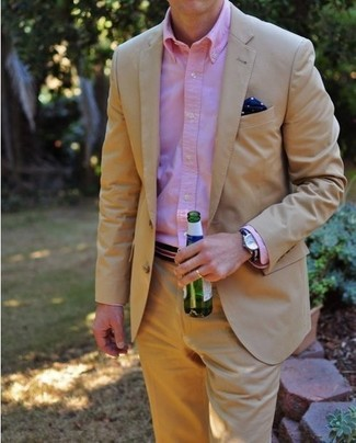 How to wear: tan blazer, pink long sleeve shirt, khaki dress pants, navy polka dot silk pocket square