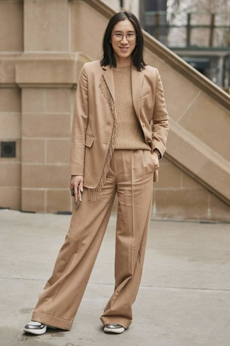 How to wear: tan wool blazer, tan cable sweater, tan wide leg pants, silver athletic shoes