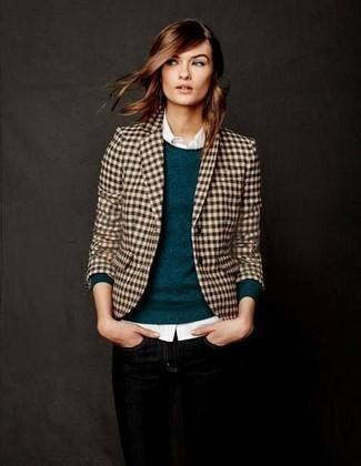 How to wear: tan gingham blazer, teal crew-neck sweater, white dress shirt, black skinny jeans