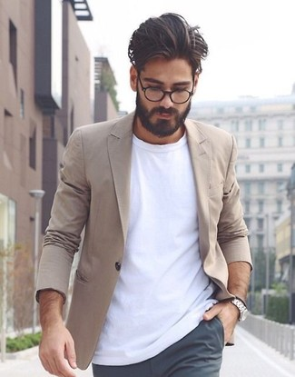 How to wear: tan cotton blazer, white crew-neck t-shirt, charcoal chinos, silver watch
