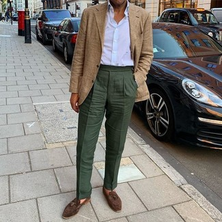 How to Wear Dark Green Dress Pants For Men: Pair a tan plaid blazer with dark green dress pants if you're aiming for a proper, stylish outfit. Our favorite of a myriad of ways to finish this ensemble is with a pair of dark brown suede tassel loafers.