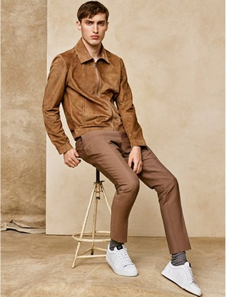 How to wear: tan suede bomber jacket, khaki dress pants, white leather low top sneakers, brown socks