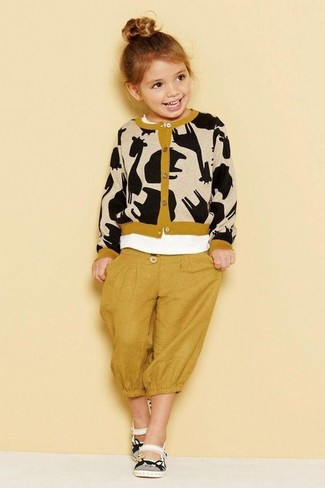 Girls' Looks & Outfits: What To Wear Casually: Consider dressing your tot in a tan print cardigan with mustard sweatpants for a fun day out at the playground. This outfit is complemented nicely with white sandals.