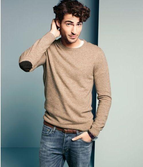 Men's Tan Crew-neck Sweater, White Crew-neck T-shirt, Blue Jeans ...