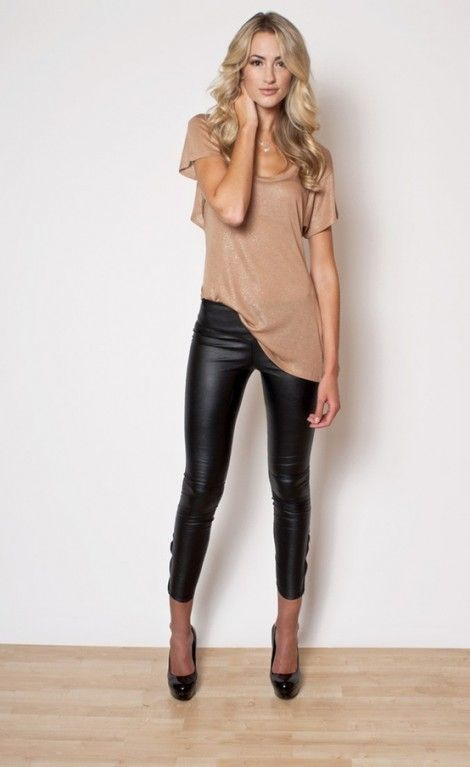 Women's Tan Crew-neck T-shirt, Black Leather Leggings, Black ...