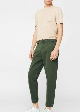 How to wear: tan crew-neck t-shirt, dark green chinos, white leather low top sneakers