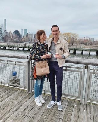 How to wear: tan denim jacket, grey polo neck sweater, navy cargo pants, grey suede low top sneakers