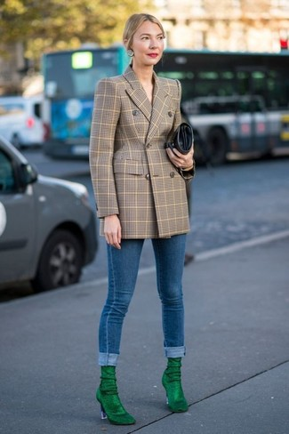 How to wear: tan check double breasted blazer, blue skinny jeans, green suede ankle boots, black leather clutch