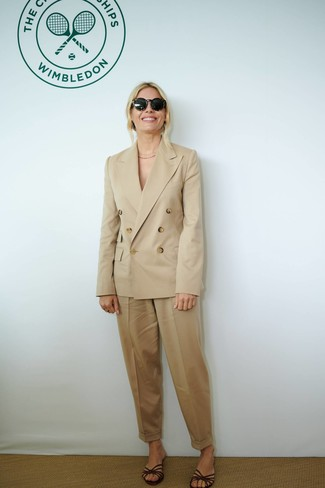 Women's Tan Double Breasted Blazer, Tan Tapered Pants, Dark Brown Leather Flat Sandals, Black Sunglasses