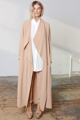 How to wear: tan duster coat, white dress shirt, tan tapered pants, tan chunky leather heeled sandals